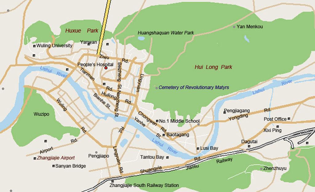 Zhangjiajie City Map