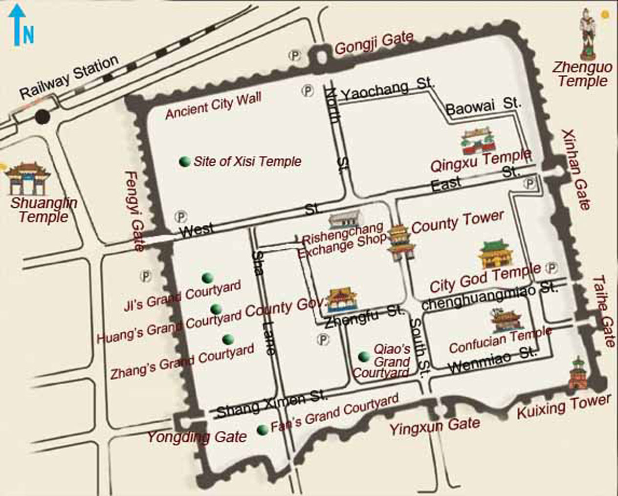 Pingyao Attraction Map