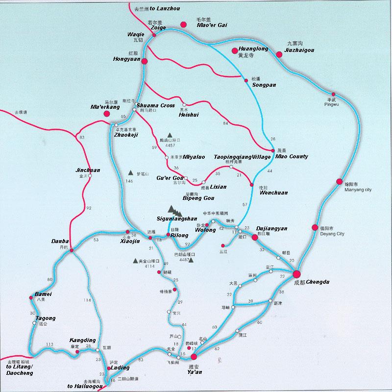 Jiuzhaigou Transportation Map
