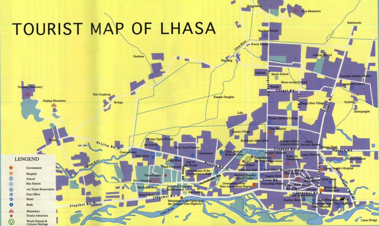 Lhasa Tourist Map