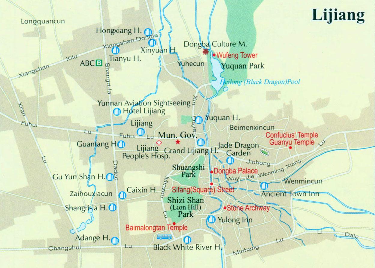 Lijiang Downtown Map