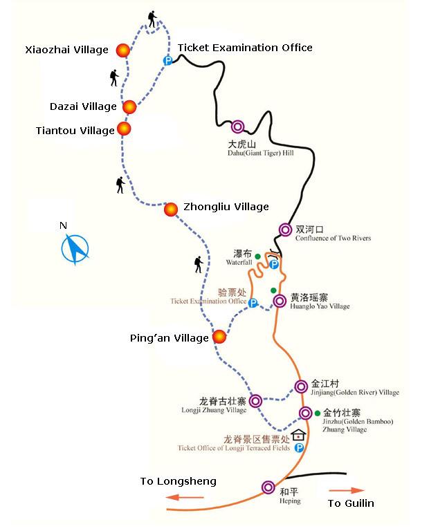 longji rice terrace map   longsheng maps   china tour advisors
