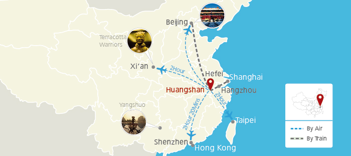 huangshan location on China Map