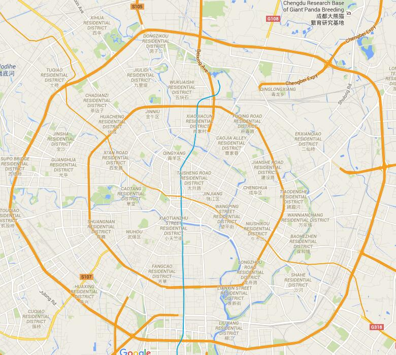 map of 2nd ring road of Chengdu