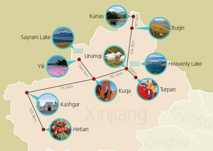 Xinjiang Tours Map