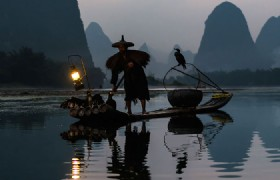 Li River Fishman and Bird