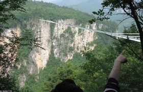 skybridge zhangjiajie in distance