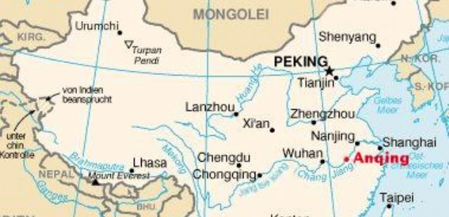 Anqing Location Map
