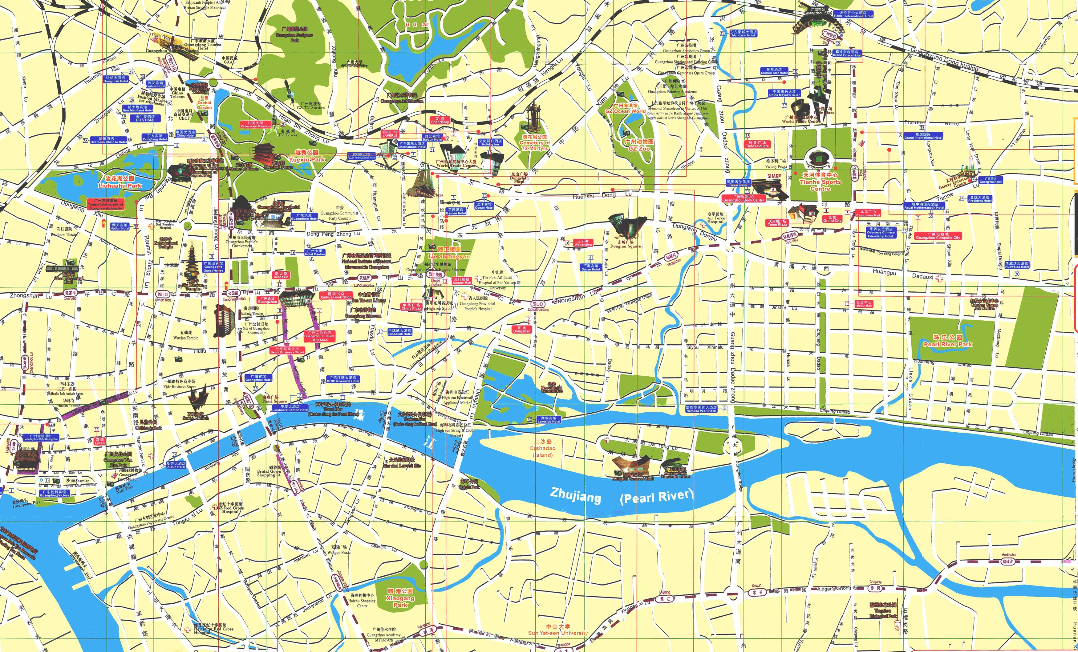 Guangzhou city map guangzhou maps china tour advisors guangzhou city map gumiabroncs Image collections