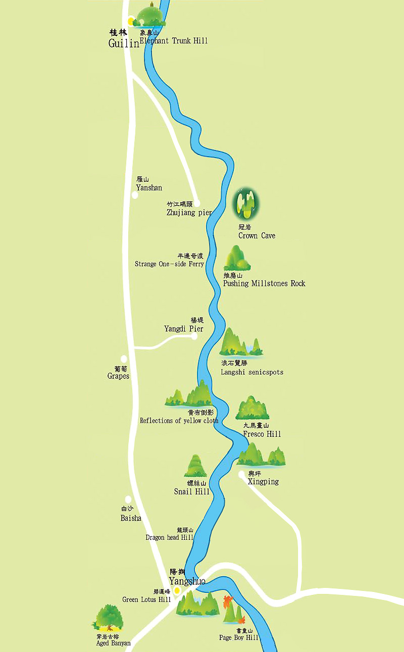 Li River Map Yangshuo Maps China Tour Advisors