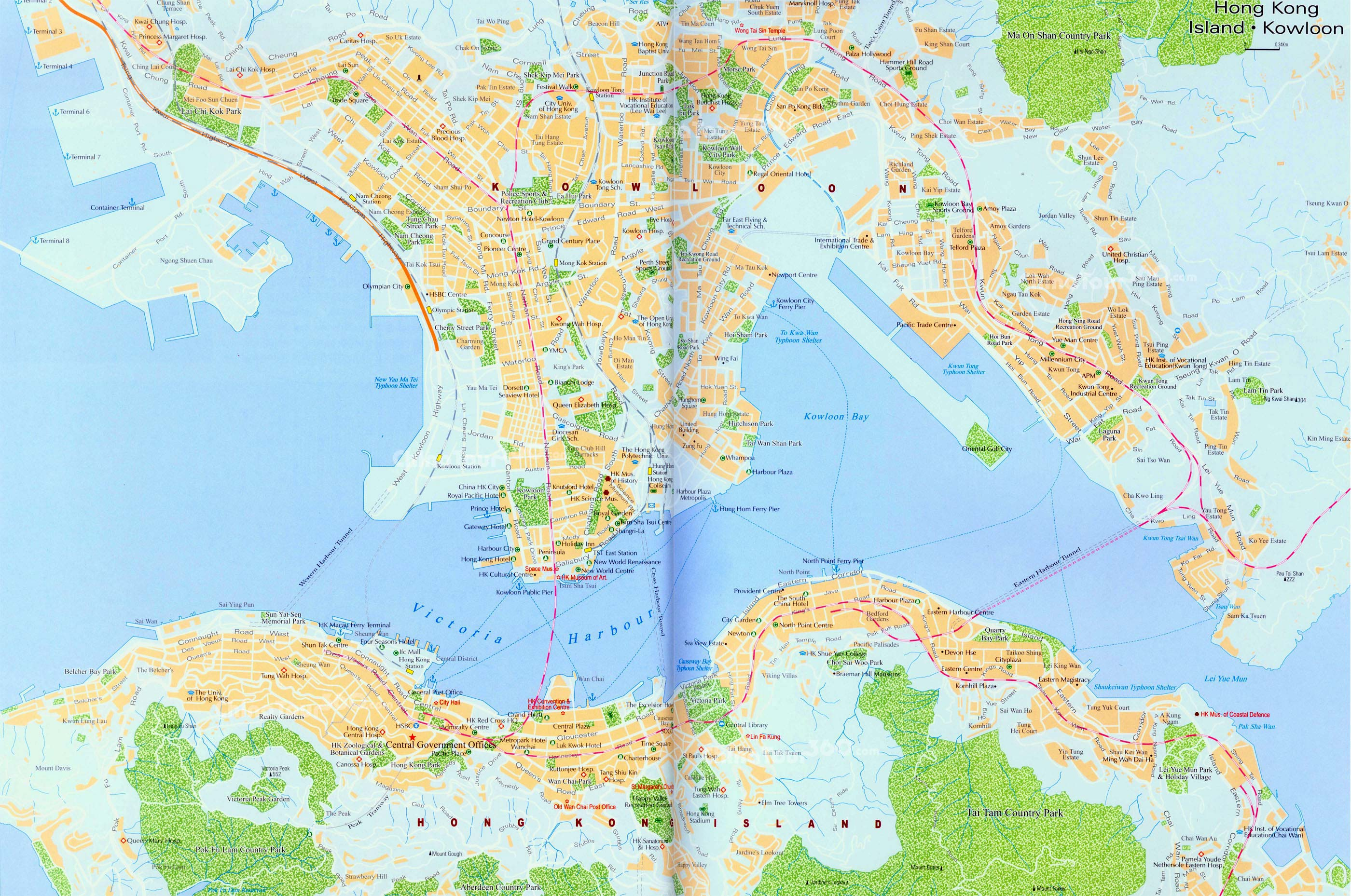 Hong Kong Island Map Kowloon Area Hong Kong Maps China Tour