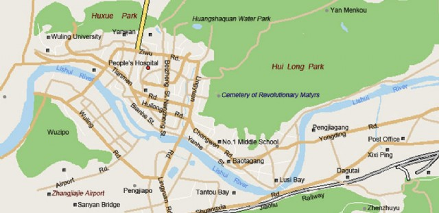 Zhangjiajie City Map