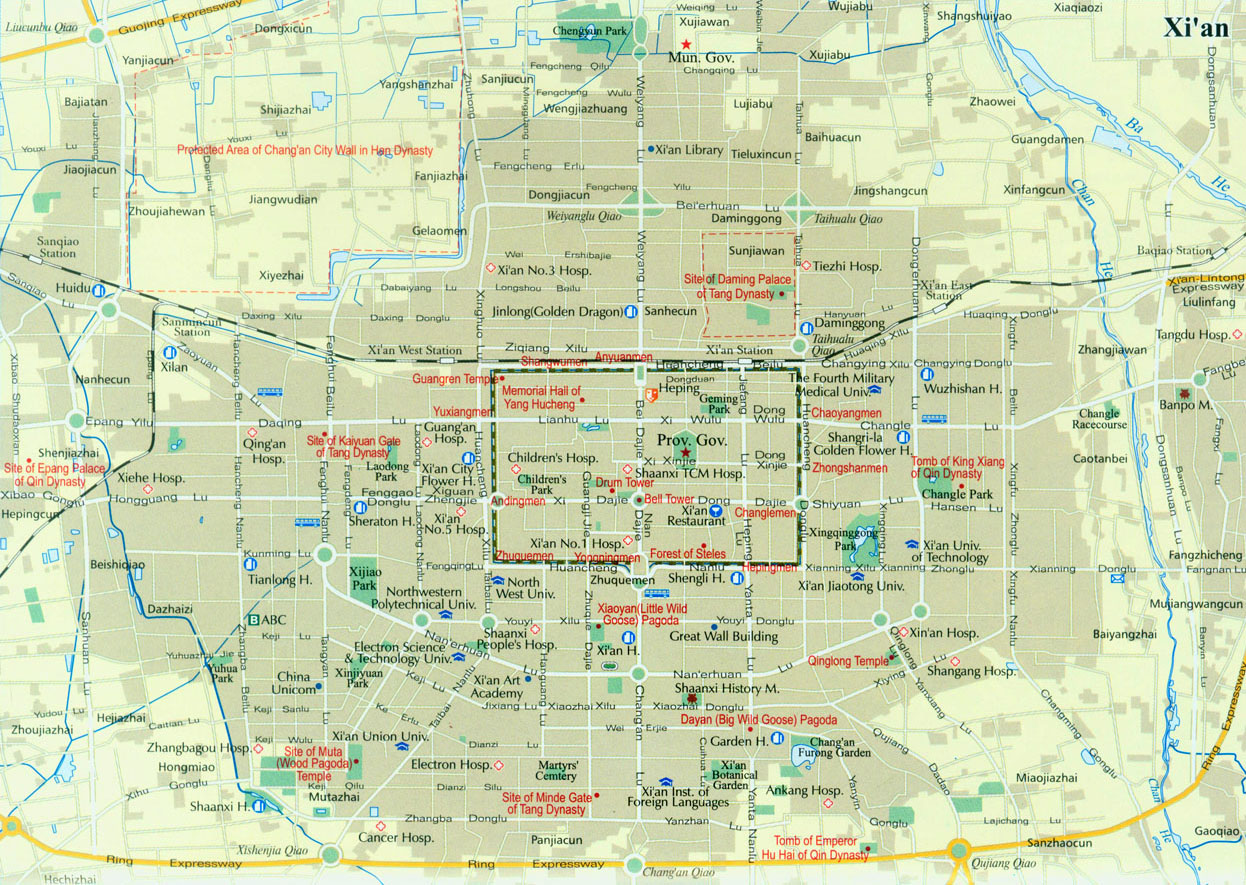 Xian city map xian maps china tour advisors xian city map gumiabroncs