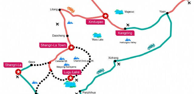 Daocheng-and-Yading-Tour-and-Traffic-Map