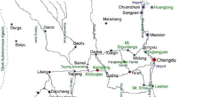 Jiuzhaigou Location Map