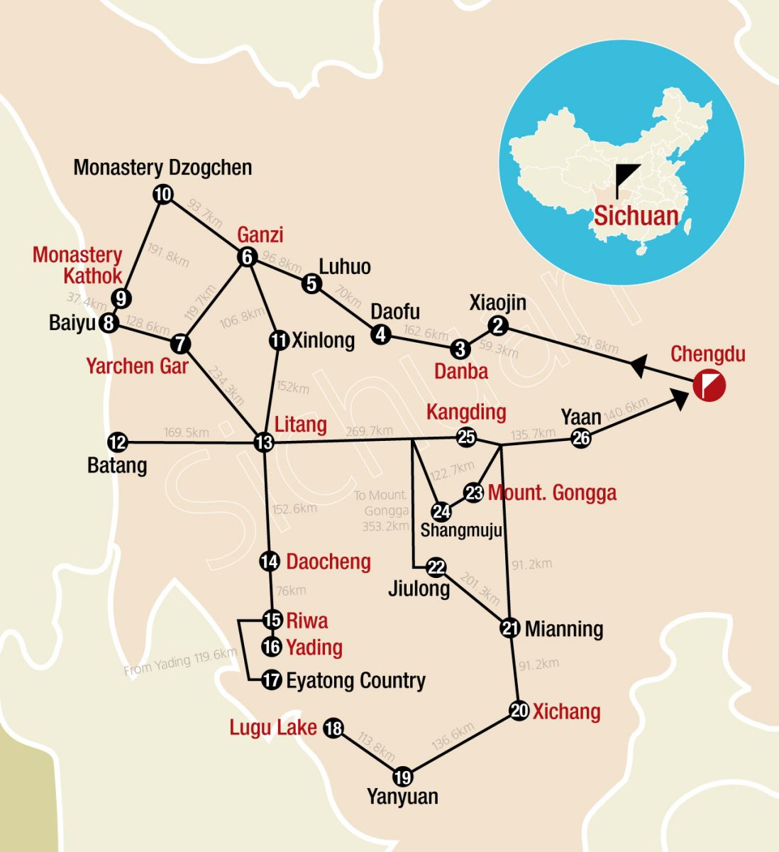 Sichuan Tour Map Chengdu Maps China Tour Advisors
