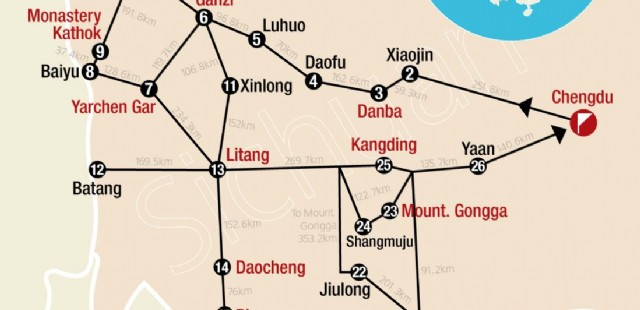 Sichuan hiking tour map