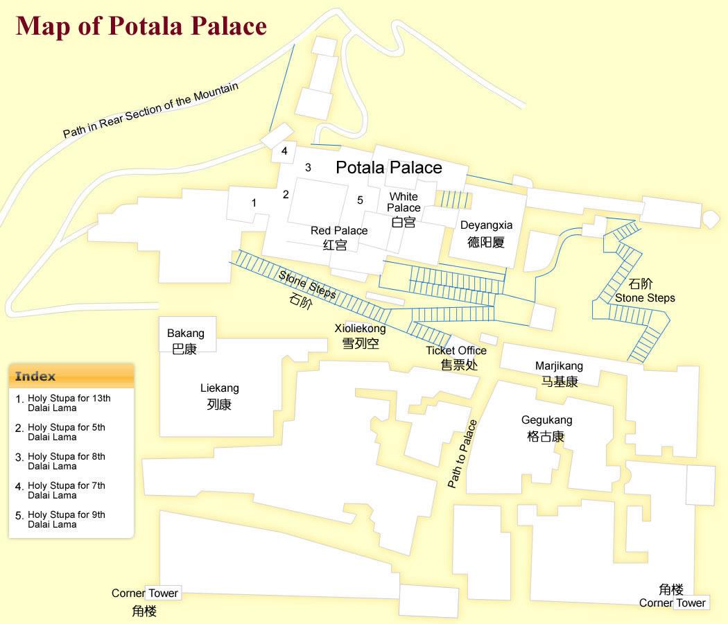 Lhasa China Map.Potala Palace Map Lhasa Maps China Tour Advisors
