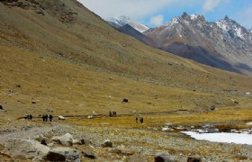 Mt Kailash Pilgrims hiking down valley