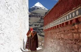 pilgrimage at choku monastery with mt kailash in the background tibet