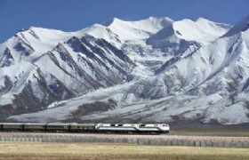 Qinghai Tibet train goes under snow mountain_m