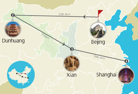 9 Day Beijing, Dunhuang, Xian and Shanghai Tour
