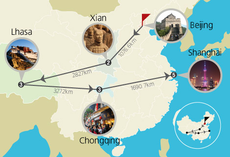 Beijing Xian Lhasa Yangtze Cruise Shanghai 18 Days Group Tour