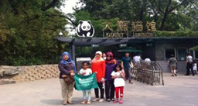Guests at Beijing Giant Panda House
