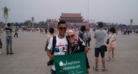 Malaysian Muslim Couple at Tiananmen Square