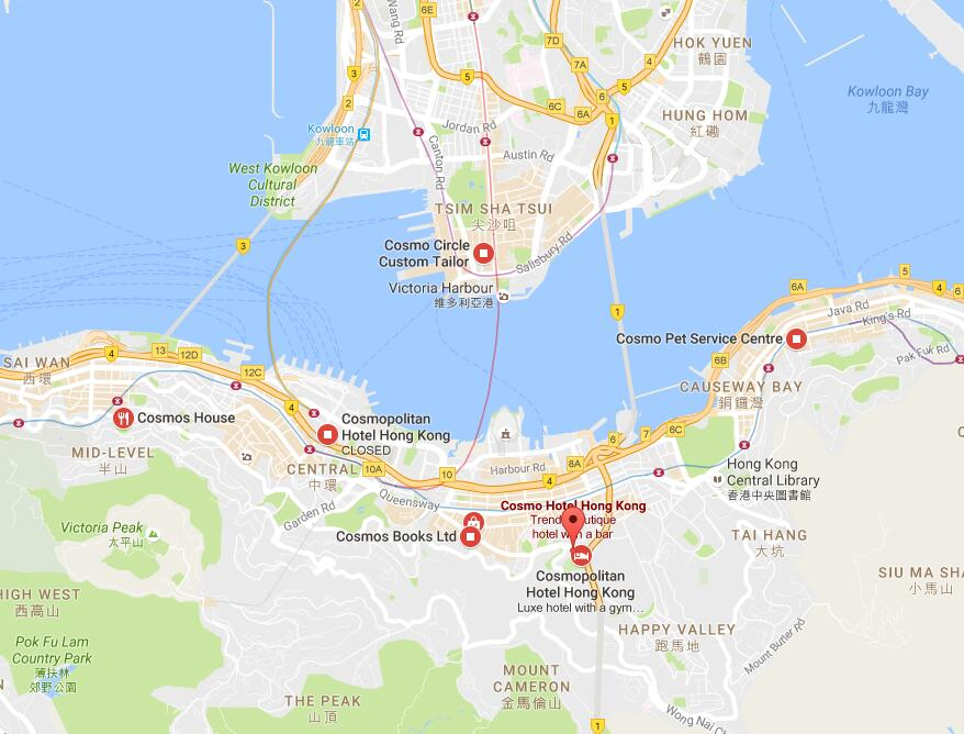 Location of cosmo hotel hong kong map of cosmo hotel hong kong day tours with hotel pickup in hong kong gumiabroncs Images