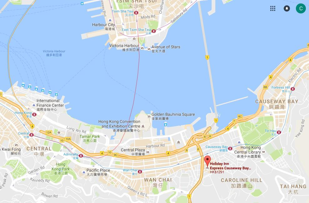 Location of Holiday Inn Express Causeway Bay HK, map of ... on google map taiwan, google map singapore, google map kowloon tong, google map ne, google map china, google map kowloon hong kong, google map br,