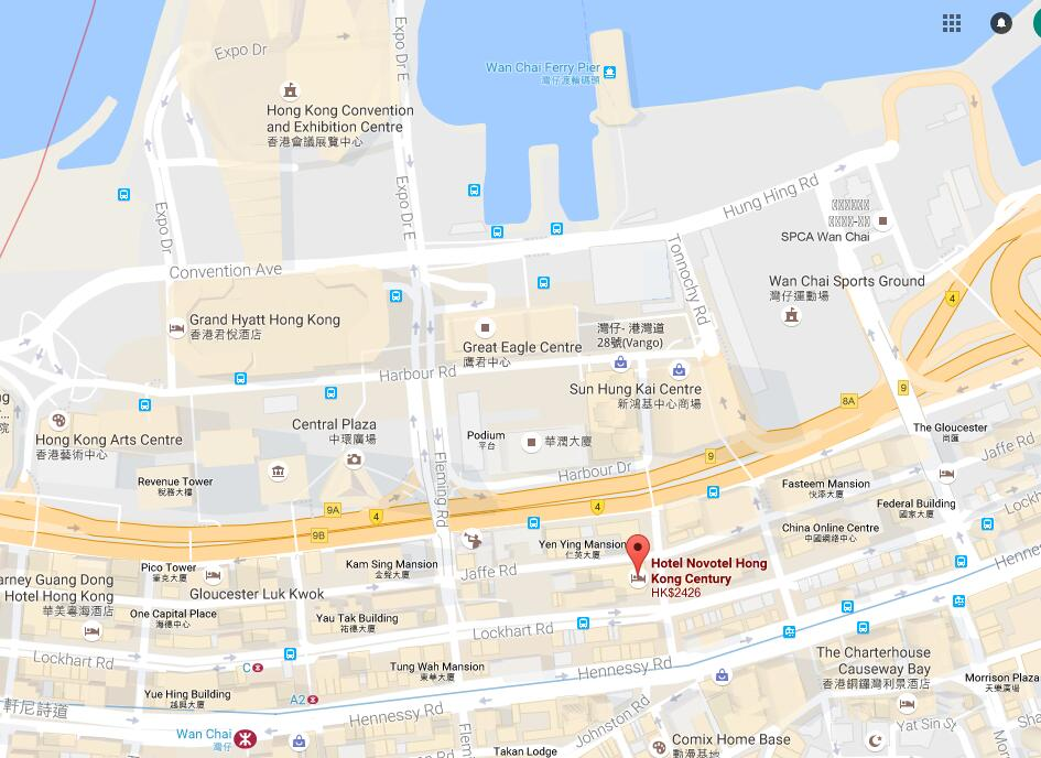 Location Of Novotel Century Hong Kong  Map Of Novotel Century Hong Kong