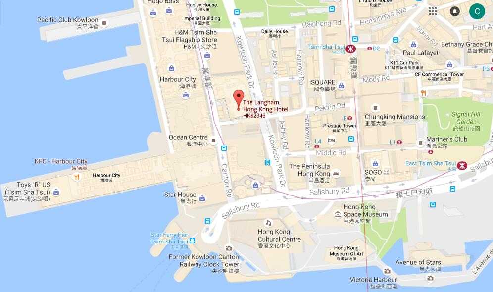 Location Of The Langham Hong Kong Hotel  Map Of The Langham Hong Kong Hotel