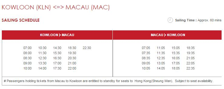 Hong Kong Island To Macau Ferry Schedule