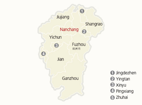 Jiangxi Tours Jiangxi Tour Agency Tour To Jiangxi China - Jingdezhen map